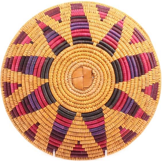 African Basket - Zulu Ilala Palm - Shallow Bowl - 12 Inches Across - #71397