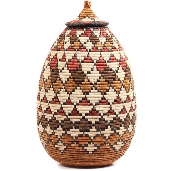 African Basket - Zulu Ilala Palm - Ukhamba - 22.5 Inches Tall - #73243