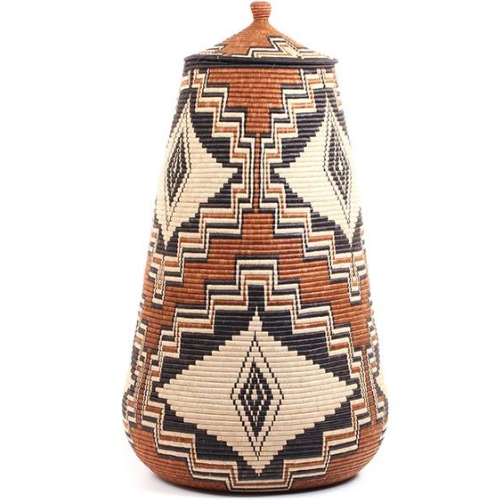 African Basket - Zulu Ilala Palm - Ukhamba - 36.5 Inches Tall - #73257
