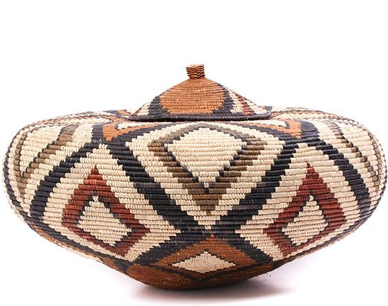African Basket - Zulu Ilala Palm - Ukhamba - 12.5 Inches Tall - #75391
