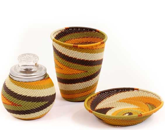 African Telephone Wire Baskets - Apothecary Set - 3 Pieces - #59516