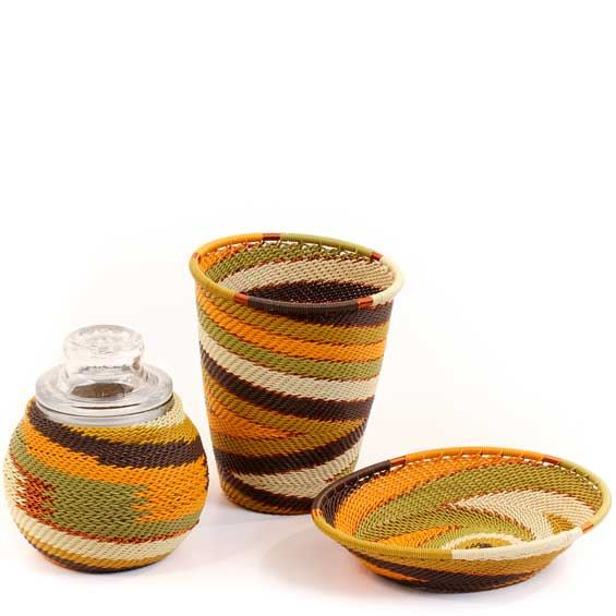 African Telephone Wire Baskets - Apothecary Set - 3 Pieces - #59518