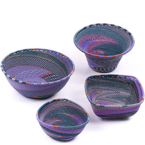 African Telephone Wire Baskets - Desk Set - 4 Pieces - #78808