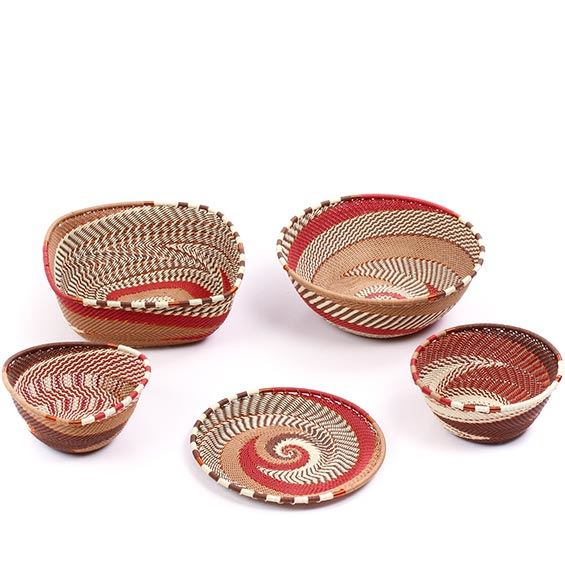 African Telephone Wire Baskets - Desk Set - 5 Pieces - #78814